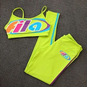 neon FILA set green with colored logo